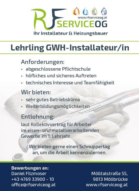 © RF Service OG   Job - Lehrling GWH-Installateur(in)